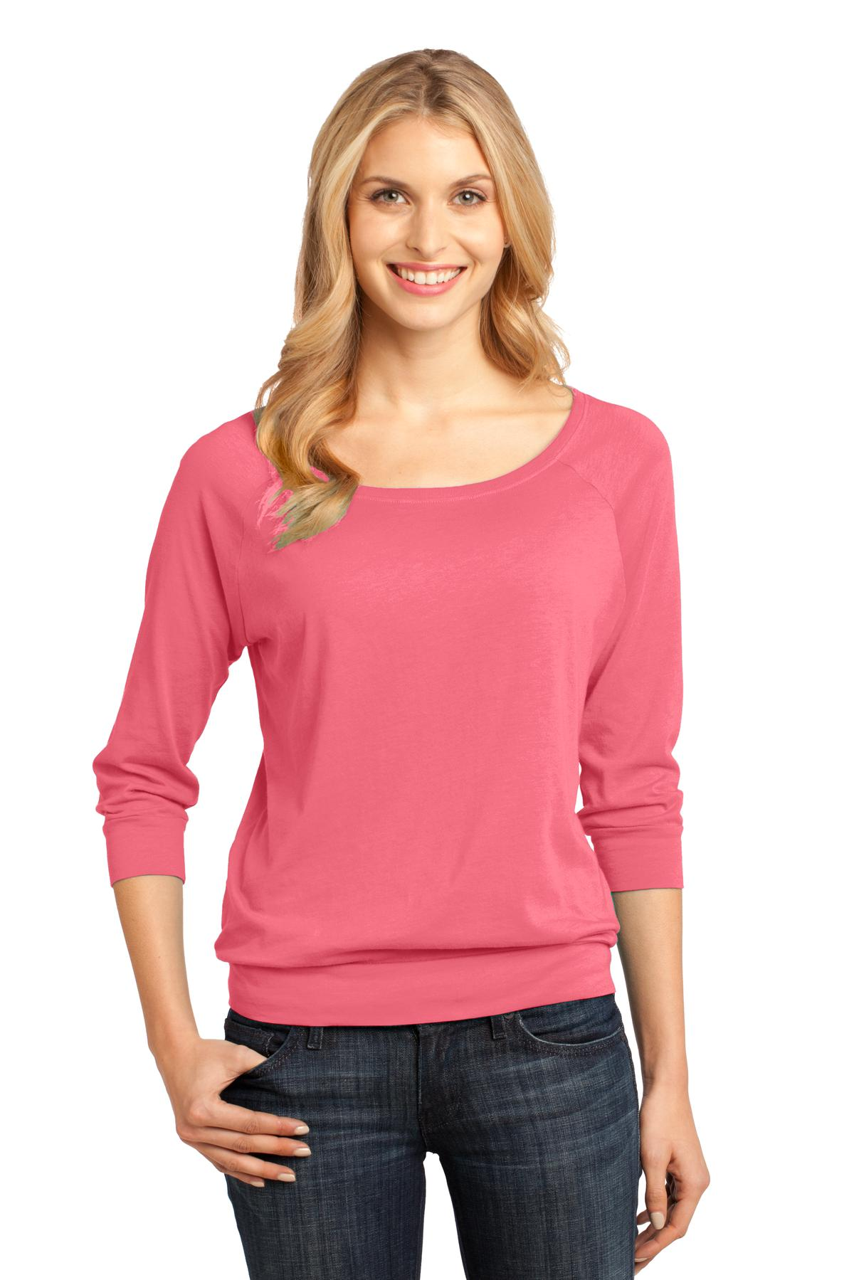 CLOSEOUT District Made - Ladies Modal Blend 3/4-Sleeve Raglan DM482
