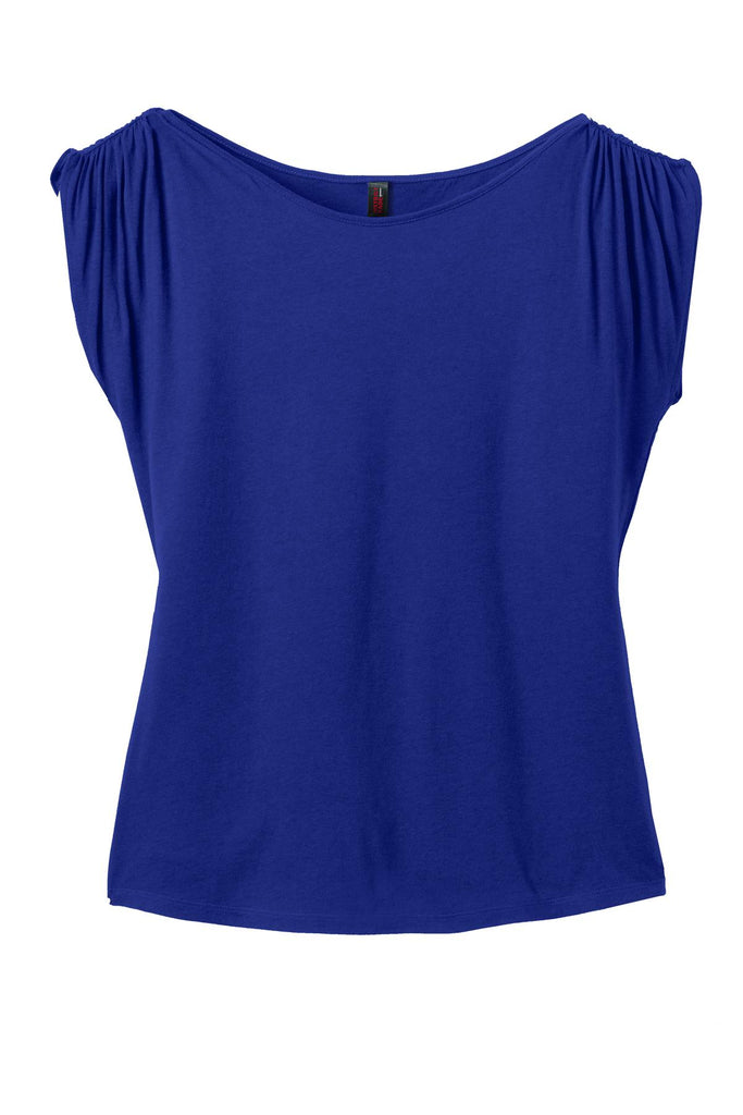 CLOSEOUT District Made Ladies Modal Blend Gathered Shoulder Tee. DM483