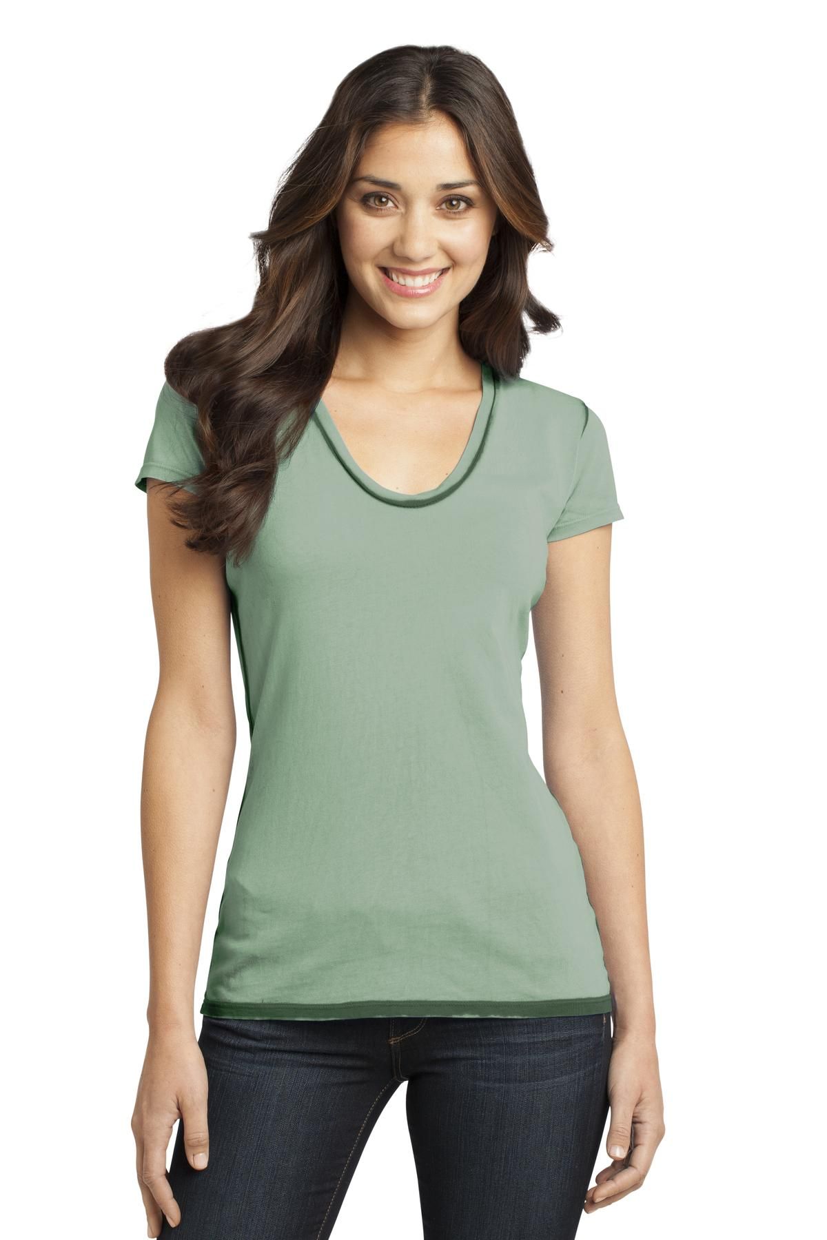 CLOSEOUT District - Juniors Faded Rounded Deep V-Neck Tee. DT2202