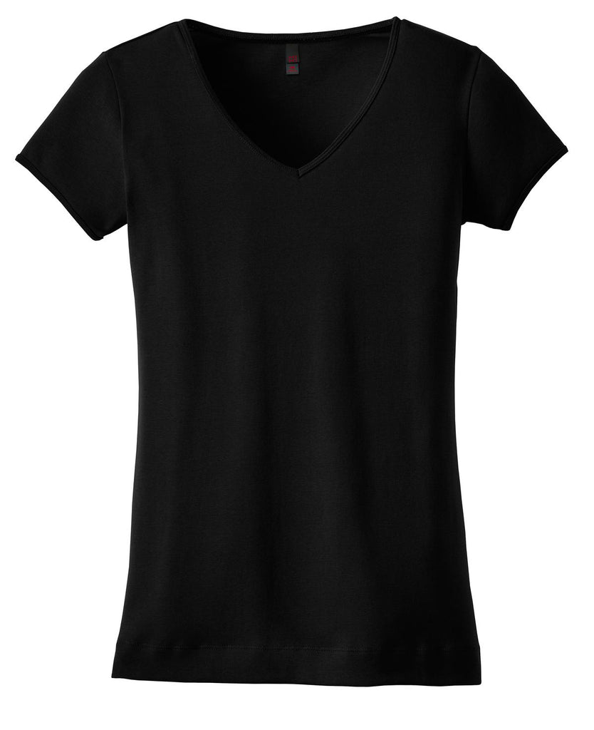CLOSEOUT District - Juniors 1x1 Rib V-Neck Tee. DT234V