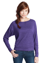 Load image into Gallery viewer, CLOSEOUT District - Juniors Textured Wide Neck Long Sleeve Raglan DT272