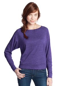 CLOSEOUT District - Juniors Textured Wide Neck Long Sleeve Raglan DT272
