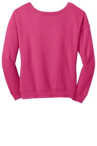 CLOSEOUT District - Juniors Core Fleece Wide Neck Pullover. DT293