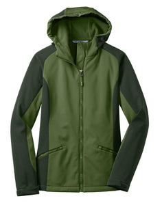 CLOSEOUT Port Authority Ladies Gradient Hooded Soft Shell Jacket. L312