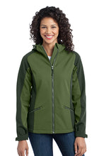 Load image into Gallery viewer, CLOSEOUT Port Authority Ladies Gradient Hooded Soft Shell Jacket. L312