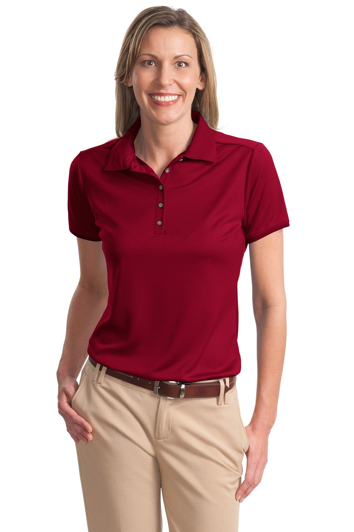 CLOSEOUT Port Authority Ladies Poly-Charcoal Birdseye Jacquard Polo. L498