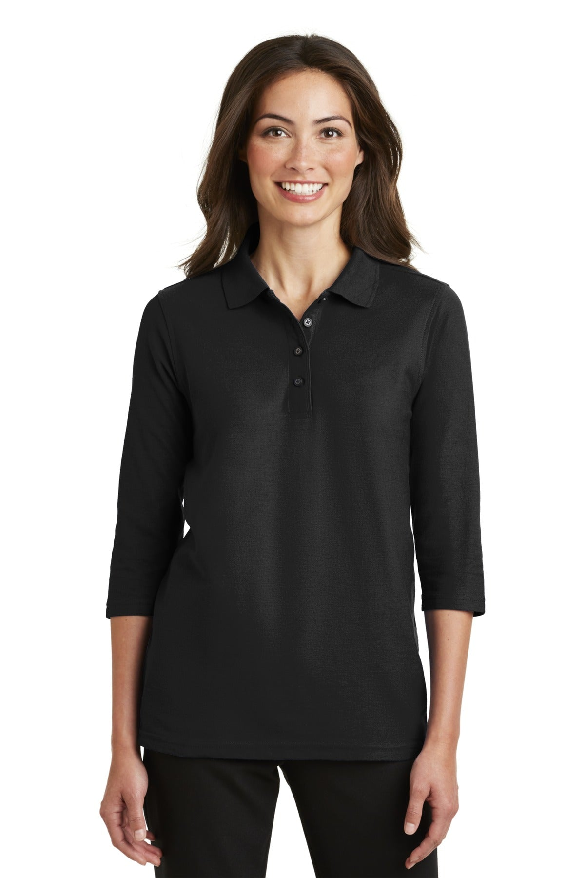 Port Authority Ladies Silk Touch 3/4-Sleeve Polo. L562