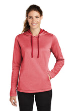 Load image into Gallery viewer, Sport-Tek  Ladies PosiCharge  Sport-Wick  Heather Fleece Hooded Pullover. LST264