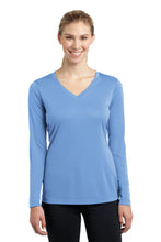 Load image into Gallery viewer, Sport-Tek Ladies Long Sleeve PosiCharge Competitor V-Neck Tee. LST353LS