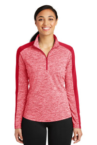 Sport-Tek Ladies PosiCharge Electric Heather Colorblock 1/4-Zip Pullover. LST397