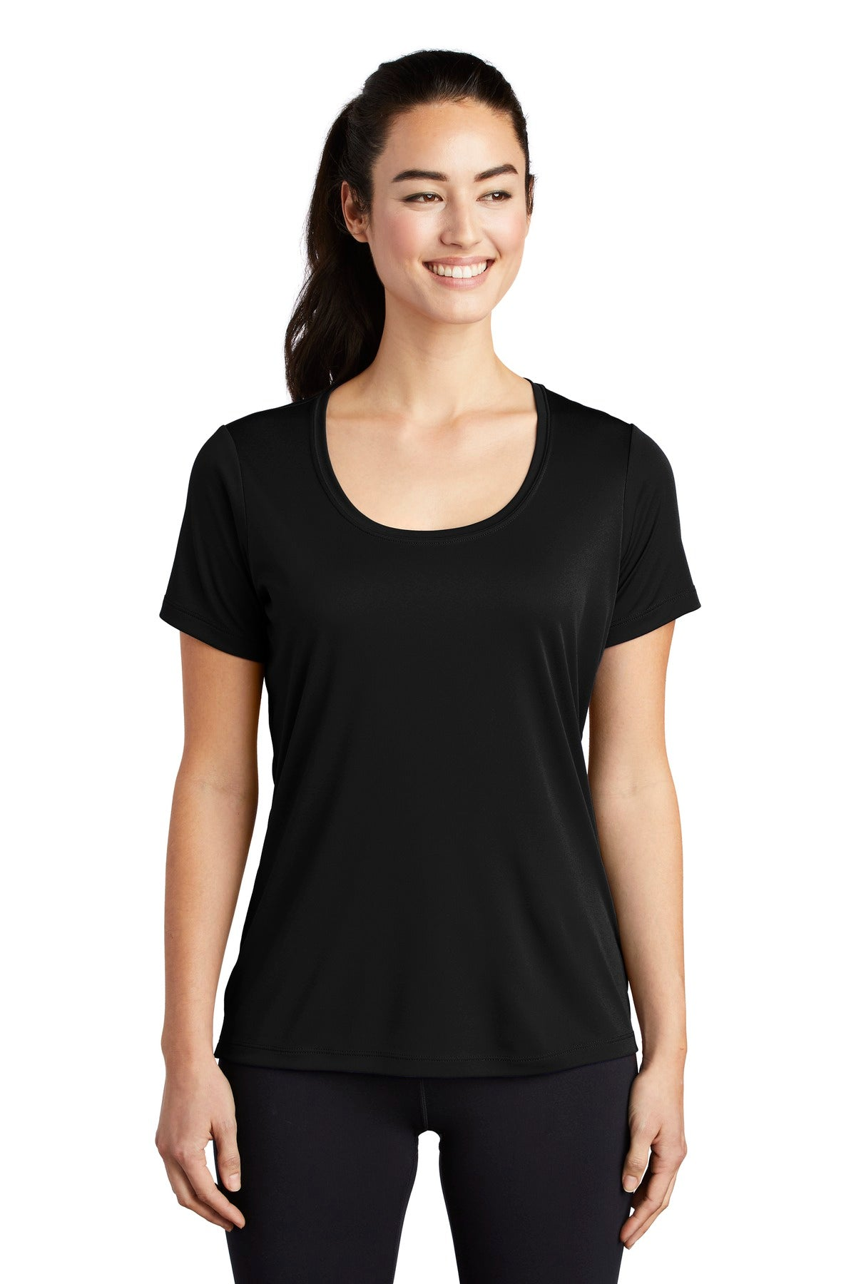 Sport-Tek  Ladies Posi-UV Pro Scoop Neck Tee. LST420