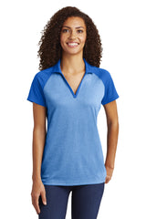 Sport-Tek  Ladies PosiCharge  RacerMesh  Raglan Heather Block Polo. LST641