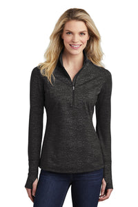 Sport-Tek  Ladies Sport-Wick  Stretch Reflective Heather 1/2-Zip Pullover. LST855