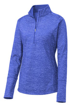 Load image into Gallery viewer, Sport-Tek  Ladies Sport-Wick  Stretch Reflective Heather 1/2-Zip Pullover. LST855
