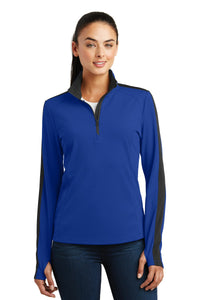 Sport-Tek Ladies Sport-Wick Textured Colorblock 1/4-Zip Pullover. LST861