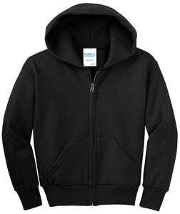 Port & Company - Youth Core Fleece Full-Zip Hooded Sweatshirt.  PC90YZH