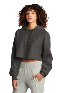 Champion   Women's Reverse Weave   Cropped Cut-Off Hooded Sweatshirt RW01W