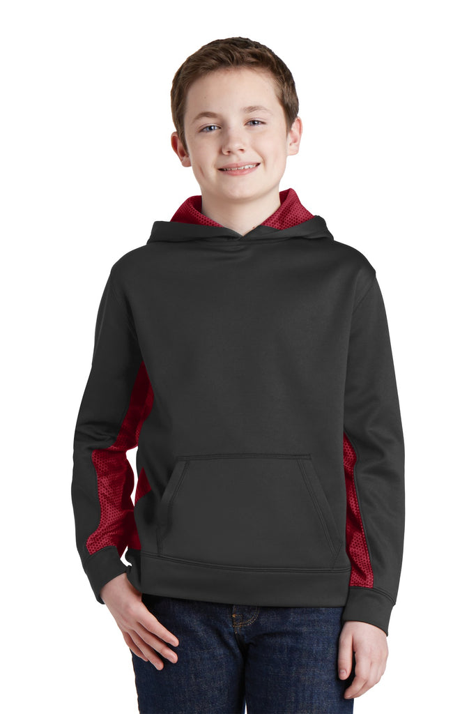 Sport-Tek Youth Sport-Wick CamoHex Fleece Colorblock Hooded Pullover.  YST239