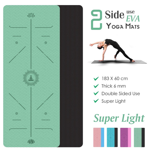 Non Slip Yoga Mat With Position Lines