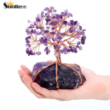 Sunligoo 1x Natural Amethyst Tumbled Stones Money Tree Feng Shui Wealth Ornament Tree of Life Healing Crystals Reiki Home Decor