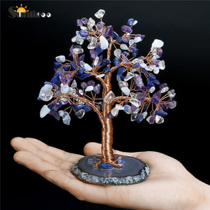 Sunligoo 1x Tumble Stone Money Tree Feng Shui Ornaments Crystal Gemstone Tree of Life Figurines & Agate Slice Stand Home Decor
