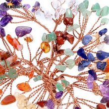 Sunligoo 7 Chakra Natural Tumbled Stones Money Tree Feng Shui Wealth Ornament Tree of Life Healing Crystals Reiki Stone Decor