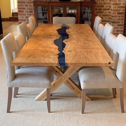 Resin River Dining Table With Wooden X-Legs