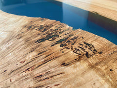 Resin River Dining Table With Wooden Legs