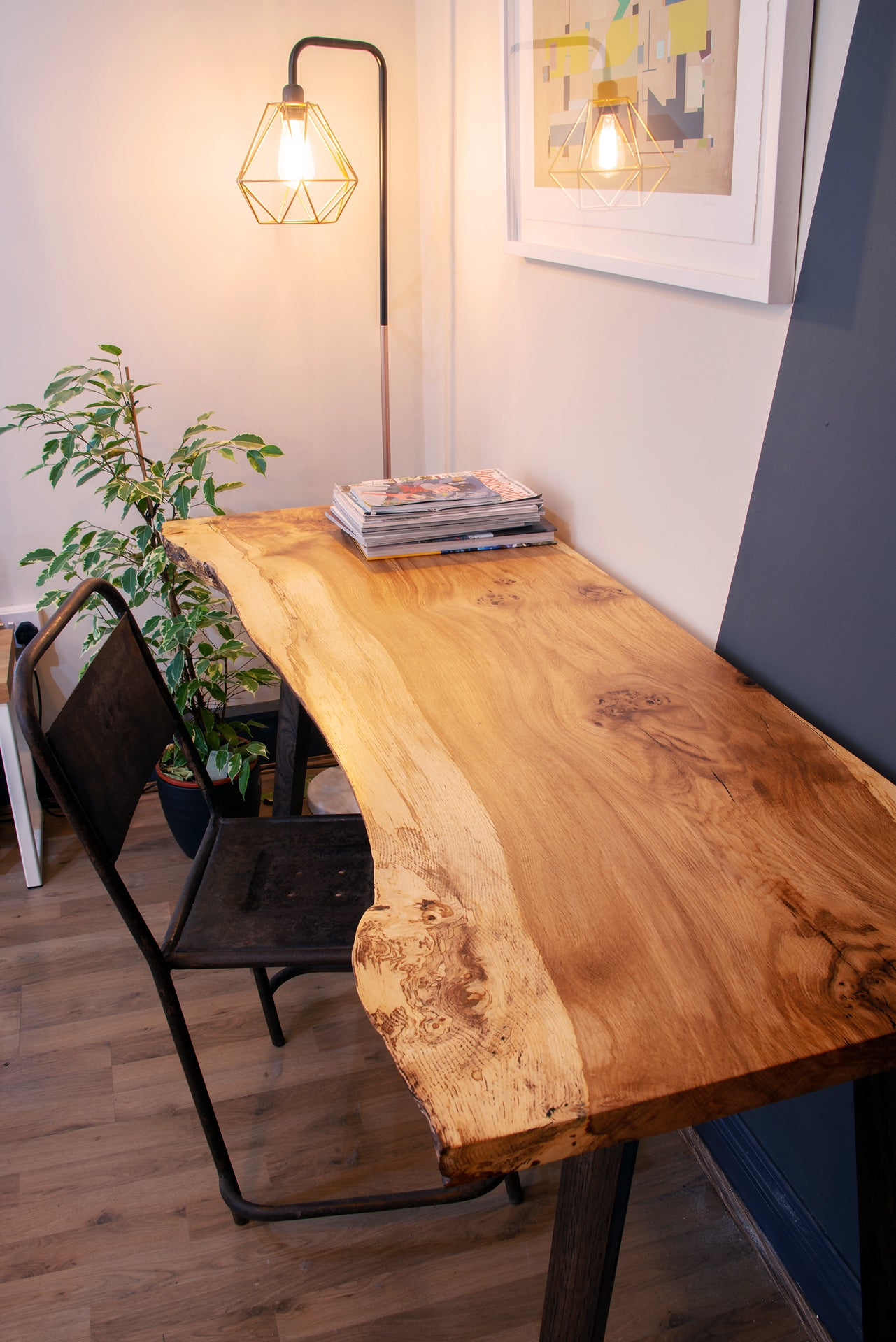 Live Edge Desk With Ebonised Oak Legs