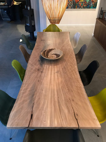 Live Edge Oak Dining Table With Metal Frame