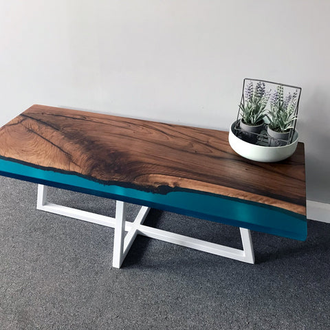 Walnut Shoreline Resin Coffee Table