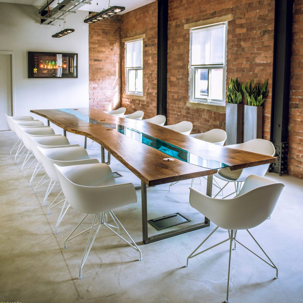 Glass River Boardroom Table by Revive Joinery