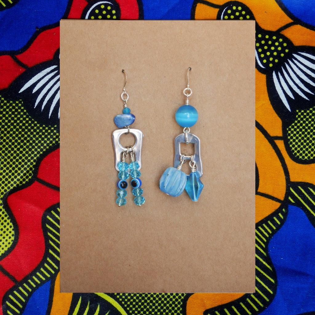 Random Can Earrings - Blue Eyes