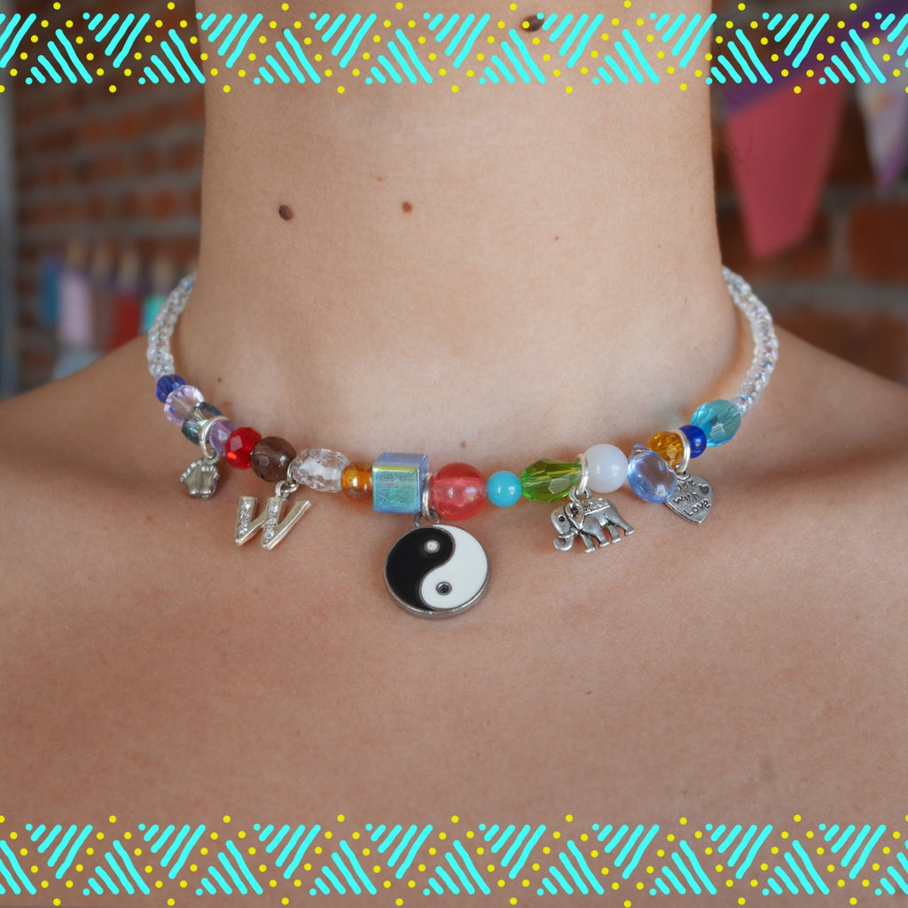 recycled charms necklace