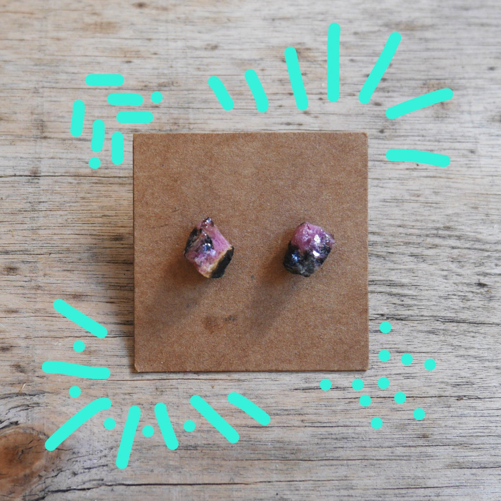 Stoner Earrings - Rhodonite