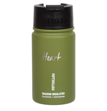 "Load image into Gallery viewer, 12oz/354ml ""Heart"" Shodo Flip Top Bottle (Olive Green)"