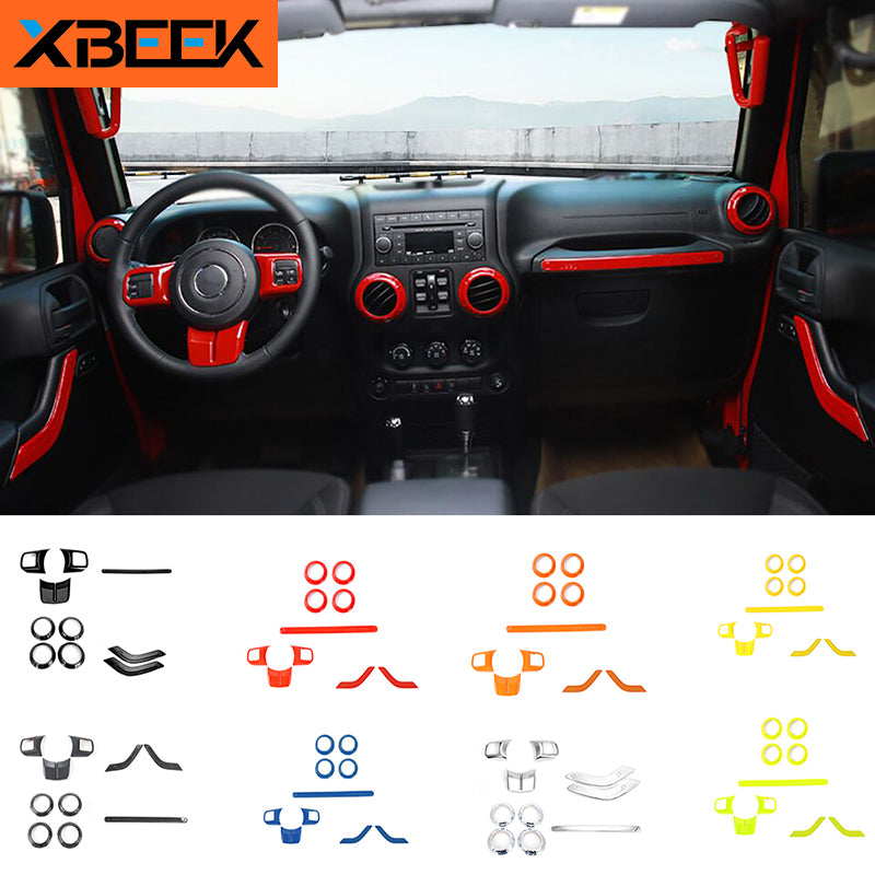 Steering Wheel Trim Air Condition Vent Cover Sticker for Jeep Wrangler JK 2011-2017 by XBEEK