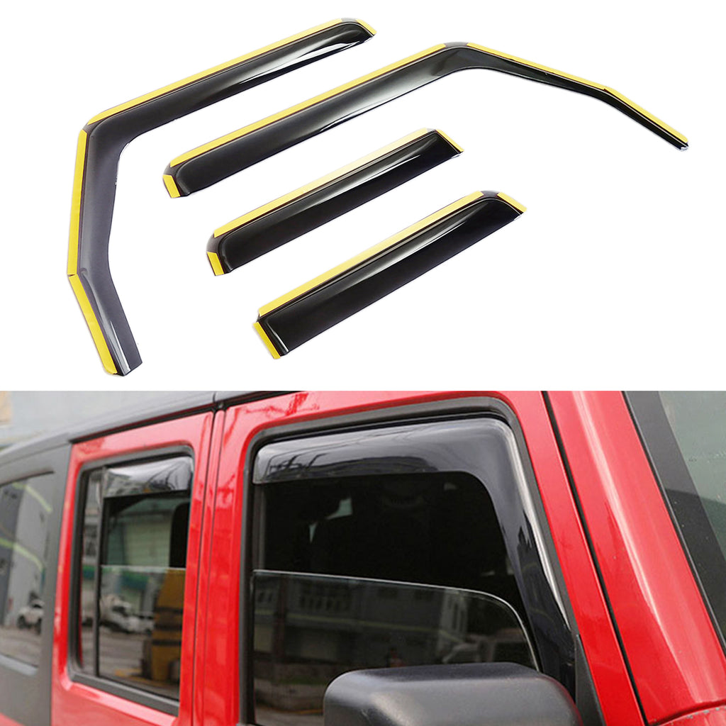 Side Window in-Channel Deflectors Ventvisor Visor for 2007-2018 Jeep Wrangler JK