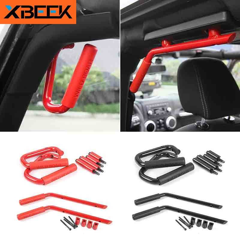 Grab Bar Handle Kit Front Rear Bars Aluminium Accessories for Jeep wrangler JK 2007-2017 by XBEEK