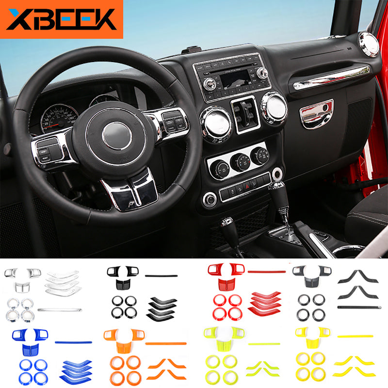 Steering Wheel Trim Air Condition Vent Cover Stickers for Jeep Wrangler JK 2011-2017 by XBEEK