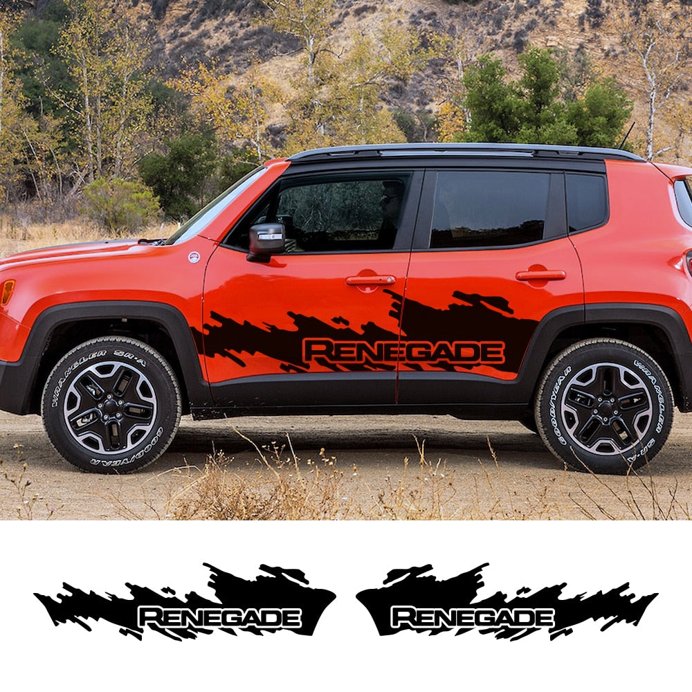 Vinyl Door Graphic Sticker Side Reflective Stickers Decals 2PCS/Set for Jeep Renegade by XBEEK