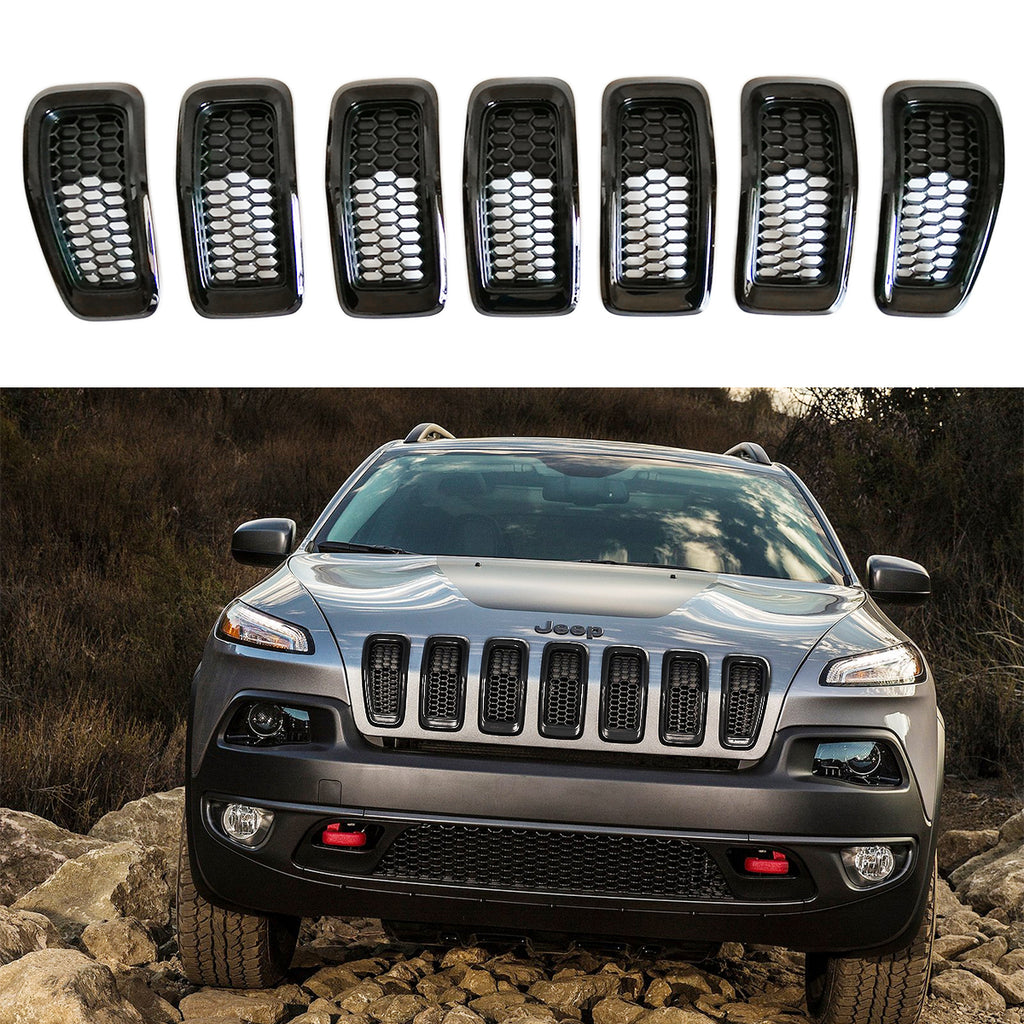 Front Grille Grid Grill Inserts Covers Black Ring for 2014-2018 Jeep Cherokee KL by XBEEK