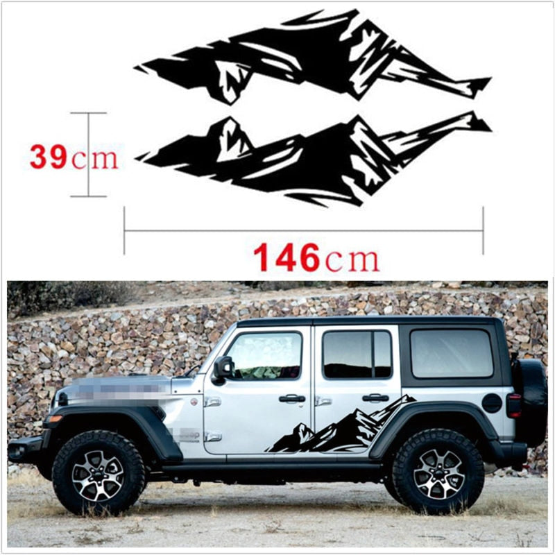 Vinyl Snow Mountain Graphics Side Skirt Decal Sticker 2pcs Black for Jeep Wrangler by XBEEK