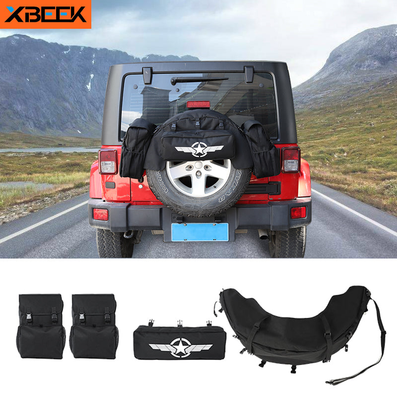 Rear Spare Tire Storage Bag Tool Kit Luggage Saddlebag for 1997-2019 2020 Jeep Wrangler TJ JK JL by XBEEK