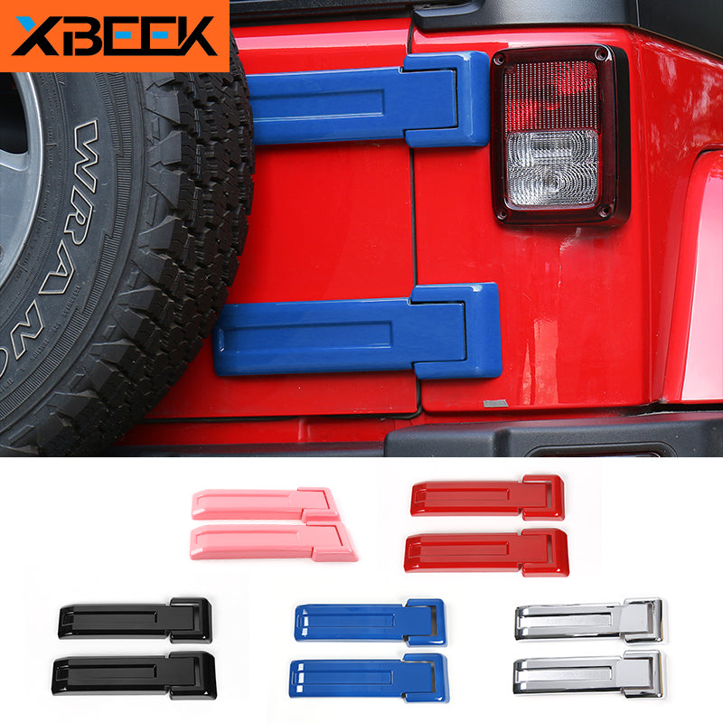Tailgate Hinge Cover Rear Door Spare Tire Hinge Sticker for Jeep Wrangler JK 2007-2017 by XBEEK