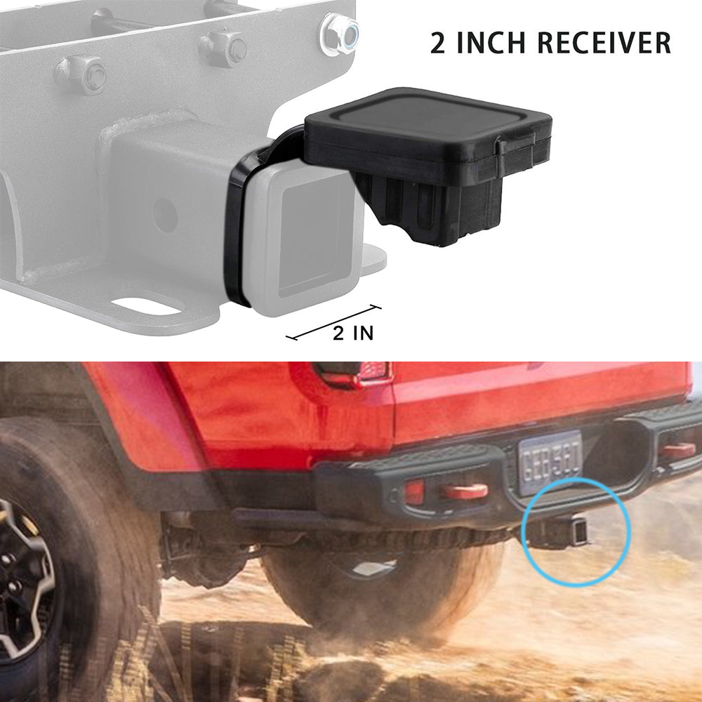 2'' Towing Trailer Hitch Receiver Tube Cover Rubber Plug for Jeep Wrangler JK JL
