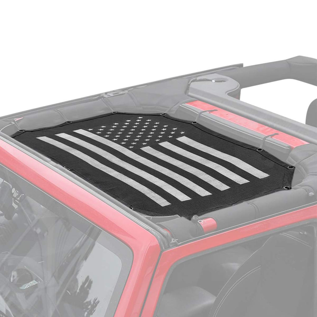 Mesh Shade Top Cover with US Flag UV Sun Protection for 2007-2017 Jeep Wrangler JK Soft Top by XBEEK