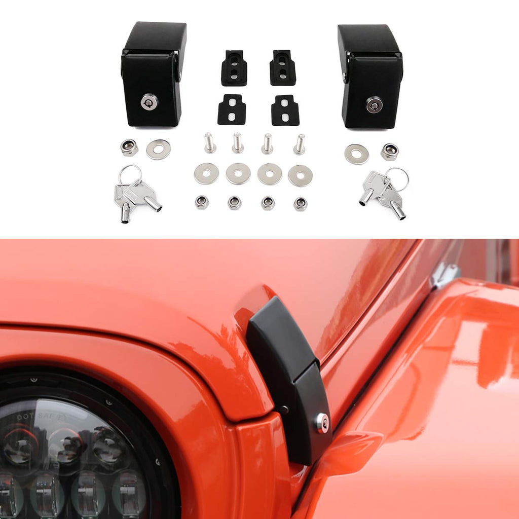 Hood Latches Hood Lock Catch Latches Kit Anti-Theft Steel Latches for Jeep Wrangler JK JL by XBEEK