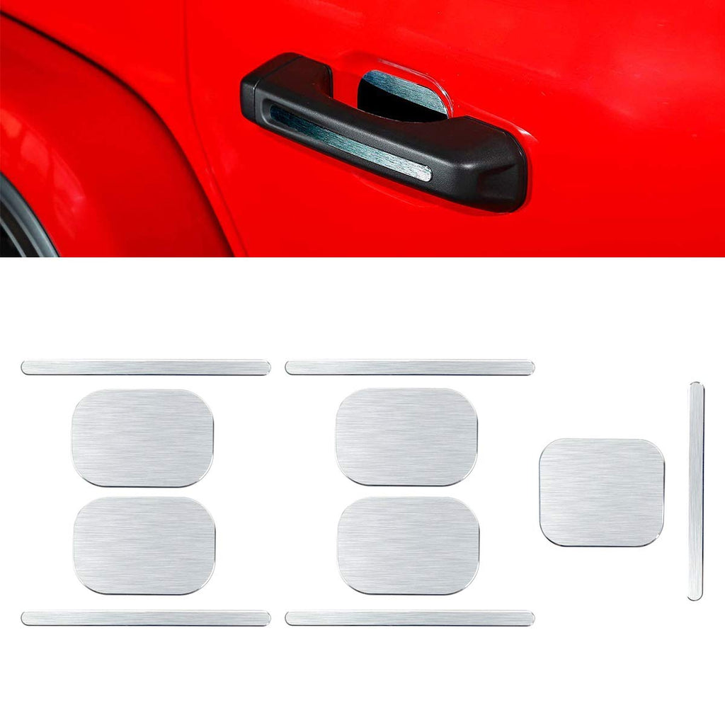 Door Handle Grab Trim Cover Wire Drawing Silver for 2018 Jeep Wrangler JL 4-Door by XBEEK