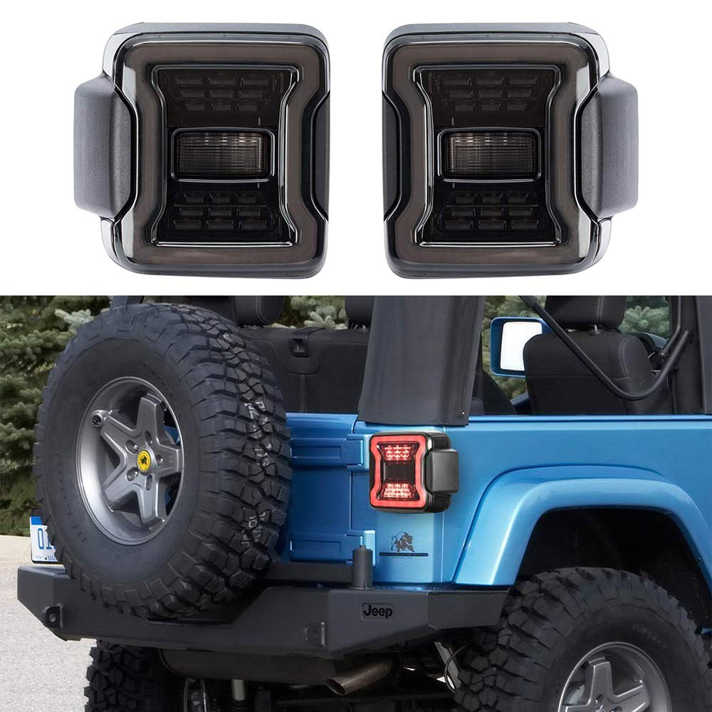 Pair of Smoked LED Tail Lights for 2018 2019 2020 Jeep Wrangler JL JLU Brake Light Reverse Light Turn Signal Light with Black Housing Smoke Lens
